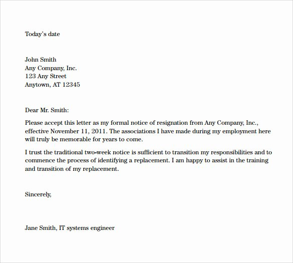Resignation Letter 2 Week Notice Elegant Sample Resignation Letters 2 Week Notice 8 Free