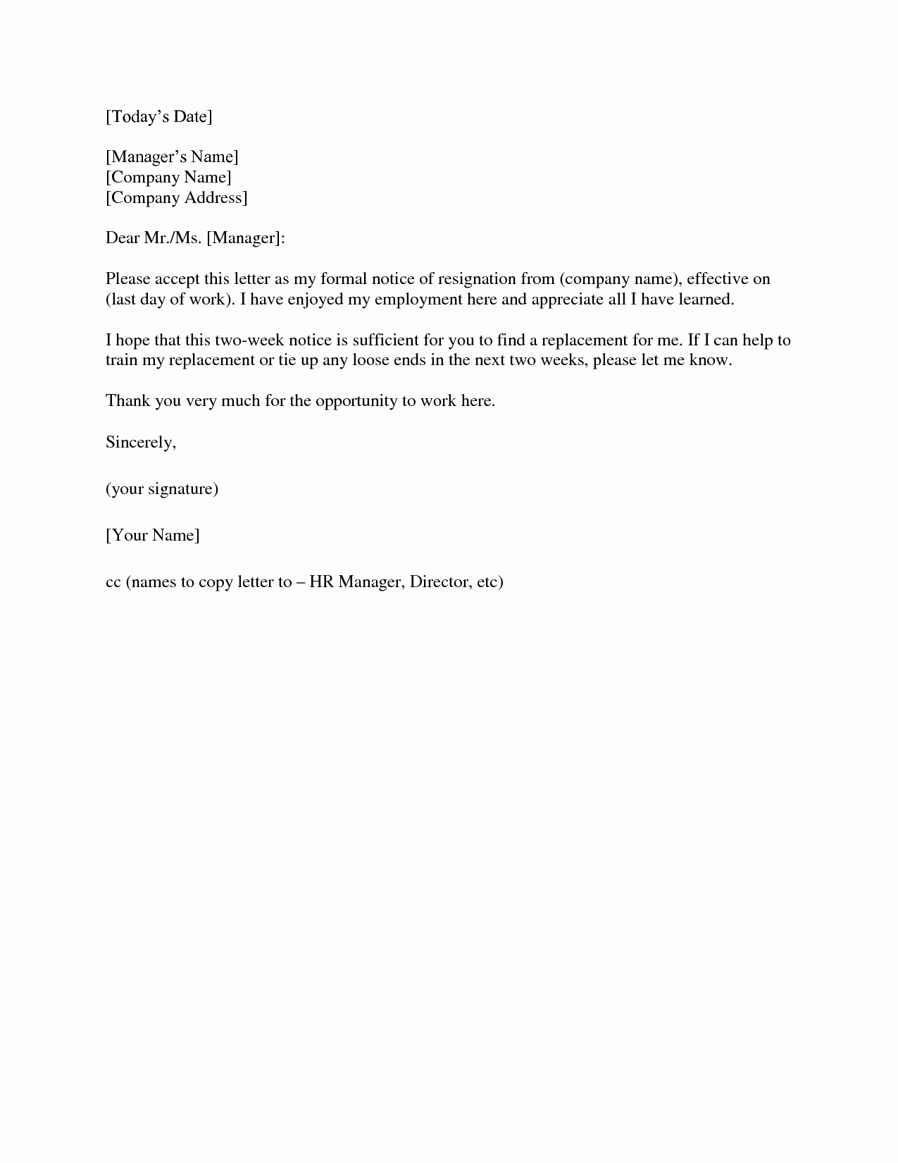 Resignation Letter 2 Week Notice Elegant Two Weeks Notice Letter Template