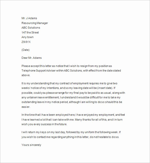 Resignation Letter 2 Week Notice Inspirational 11 Two Weeks Notice Letter Templates Pdf Google Docs