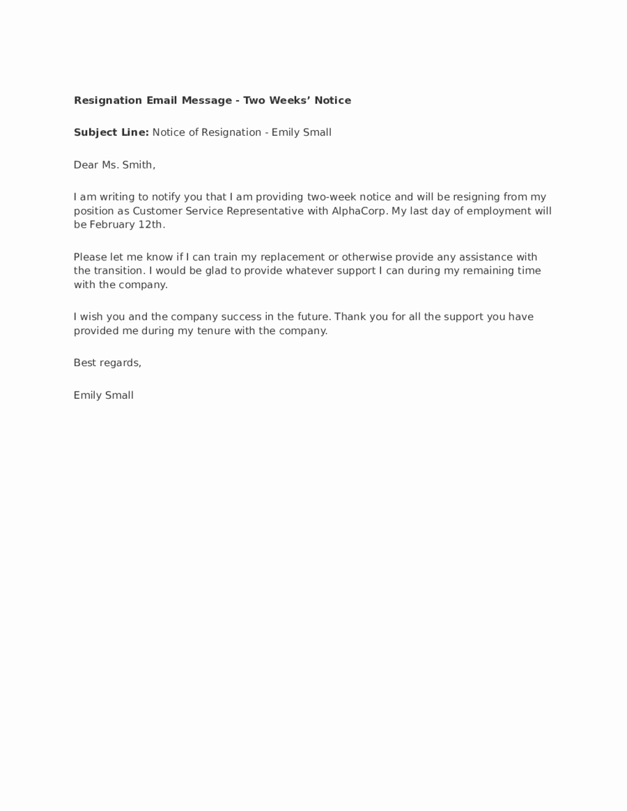 Resignation Letter 2 Week Notice Lovely 2019 Two Weeks Notice Fillable Printable Pdf & forms
