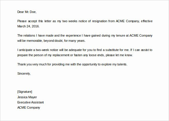 Resignation Letter 2 Week Notice Lovely 34 Two Weeks Notice Letter Templates Pdf Google Docs