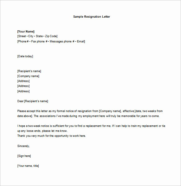 Resignation Letter 2 Week Notice New 10 Sample Two Week Notice Resignation Letter Templates