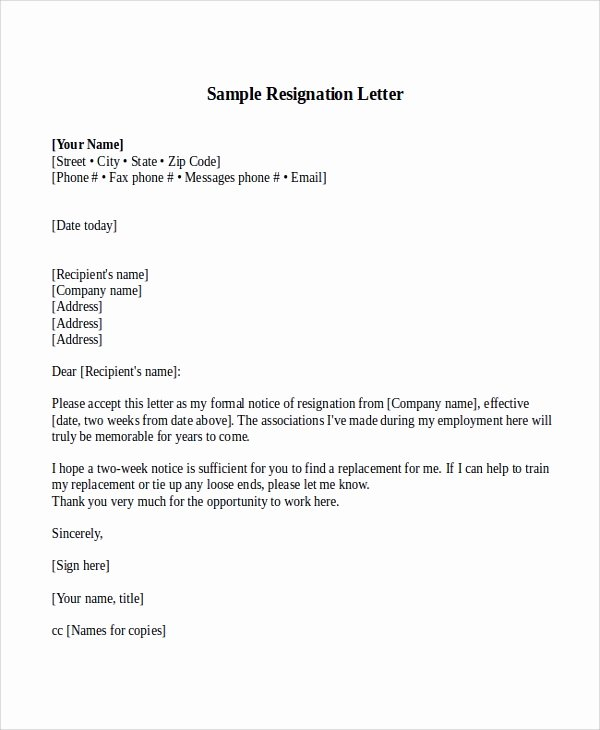 Resignation Letter 2 Week Notice New Sample Resignation Letter with 2 Week Notice 6 Examples