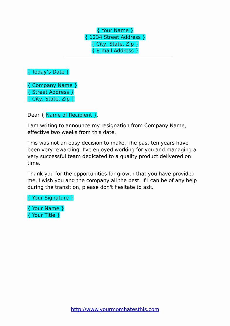 Resignation Letter 2 Week Notice New Two Weeks Notice Letters – Download Pdf Doc format