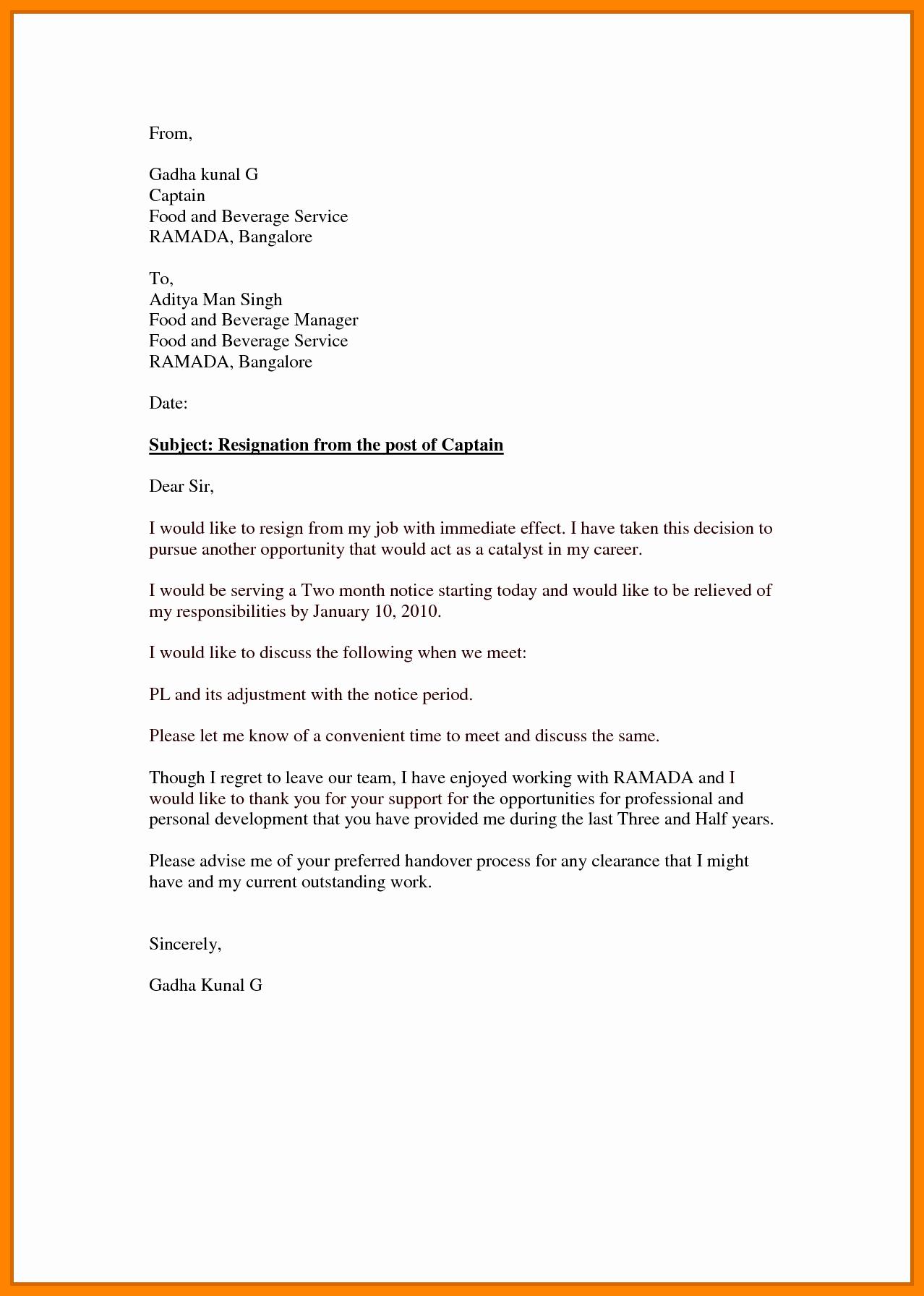Resignation Letter Effective Immediately Elegant 7 Effective Immediately Resignation Letter