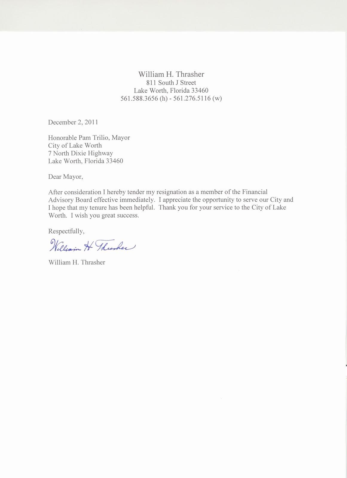 Resignation Letter Effective Immediately Fresh Lynn S Little Bit Of Trivia Bill Thrasher Resignation Letter