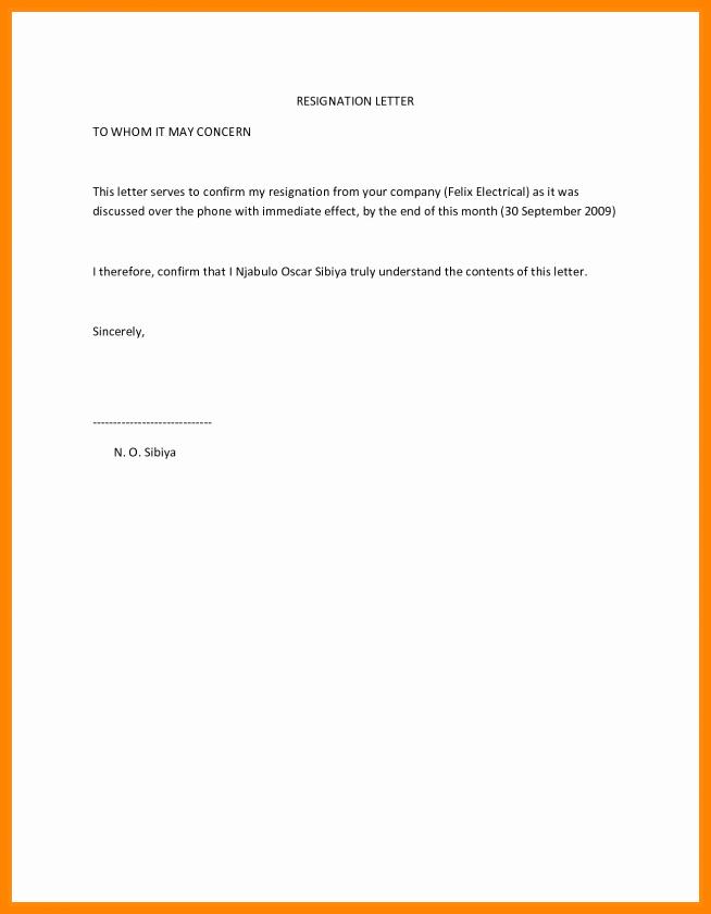 Resignation Letter Effective Immediately Unique 6 Effective Immediately Resignation