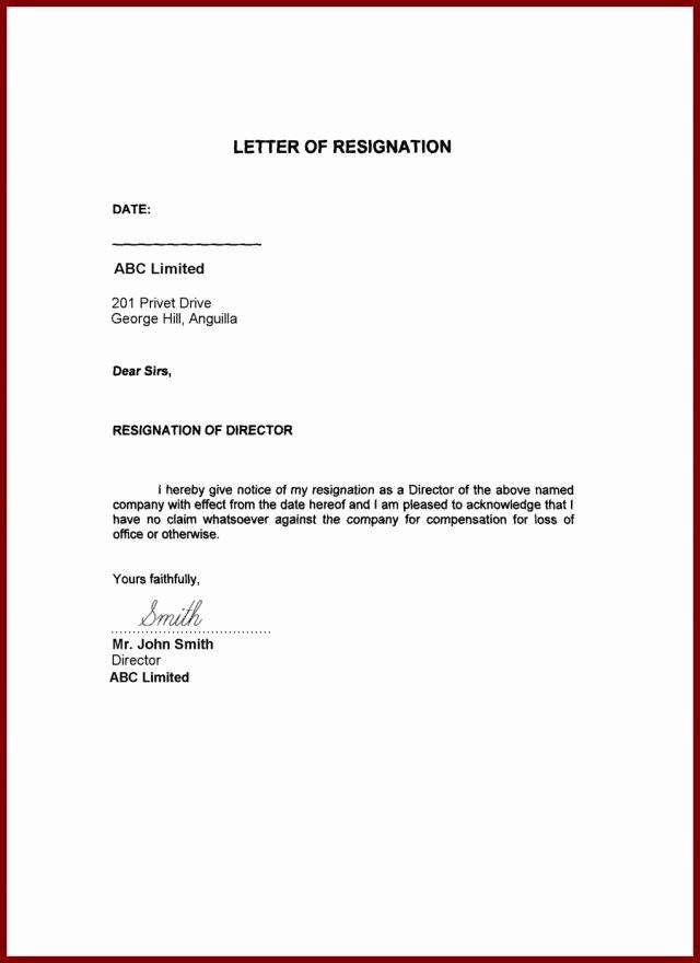 Resignation Letter for Family Reason Elegant 13 Family Reason Resignation Letter for Personal Problem