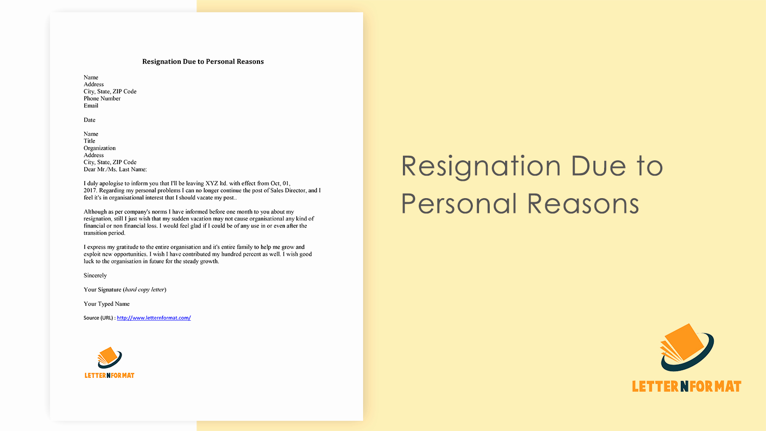 Resignation Letter for Family Reason New Resignation Letter format for Personal Reasons Download Pdf