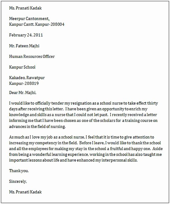 Resignation Letter for Nursing Awesome Nursing Resignation Letter