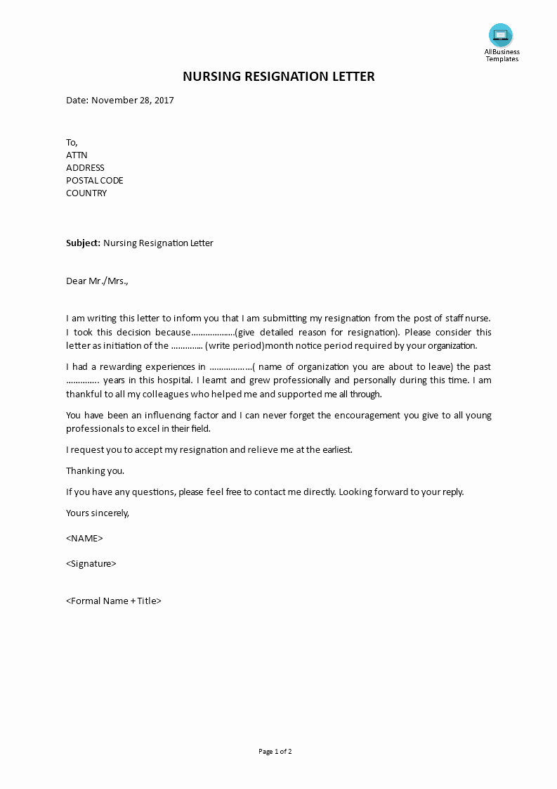 Resignation Letter for Nursing Elegant Nursing Resignation Letter