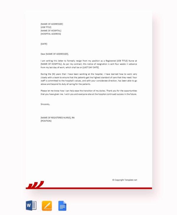 Resignation Letter for Nursing Fresh 11 Sample Nursing Resignation Letters Pdf Word