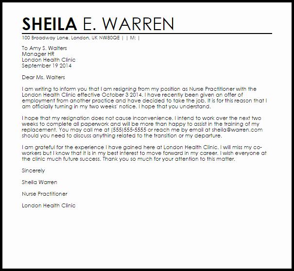 Resignation Letter for Nursing Fresh Nurse Practitioner Resignation Letter Example