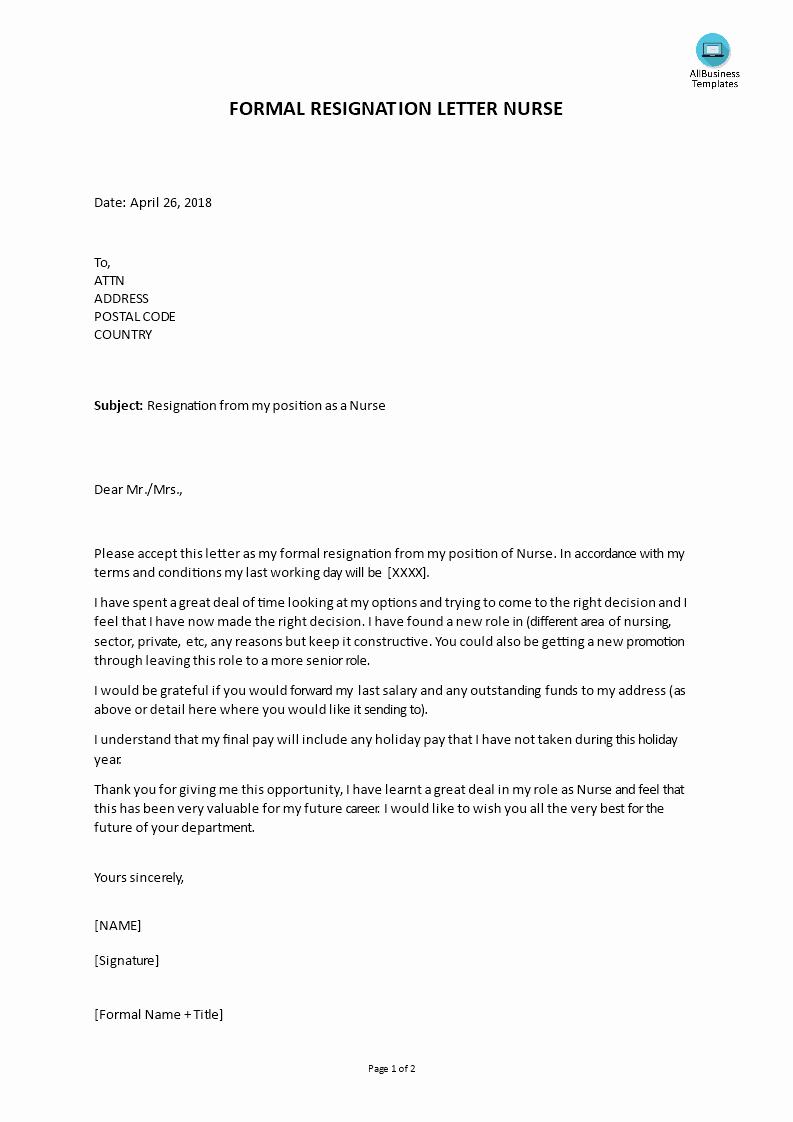 Resignation Letter for Nursing Inspirational formal Resignation Letter Nurse Position