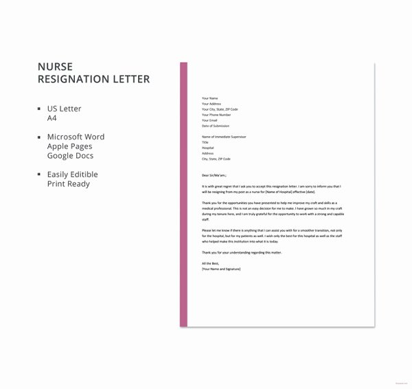 Resignation Letter for Nursing Lovely Nursing Resignation Letter Template 6 Free Word Excel