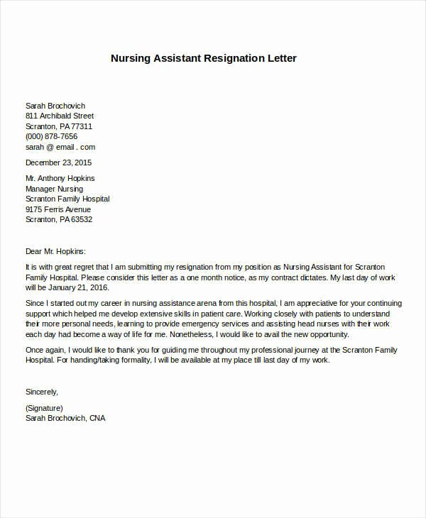 Resignation Letter for Nursing Luxury 31 formal Resignation Letters