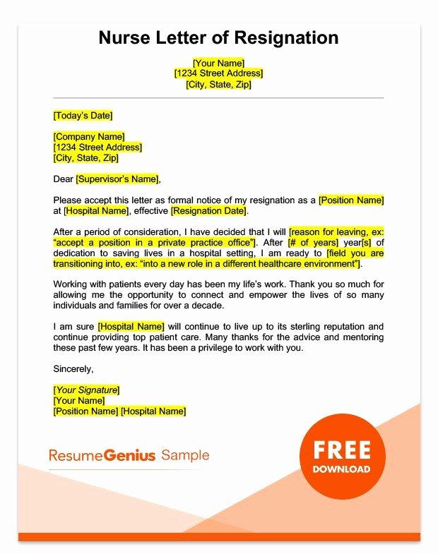 Resignation Letter for Nursing Luxury Career Specific Resignation Letters