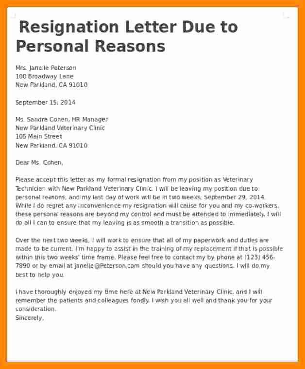 Resignation Letter for Personal Reasons Beautiful 8 Resignation Letter Personal Reason