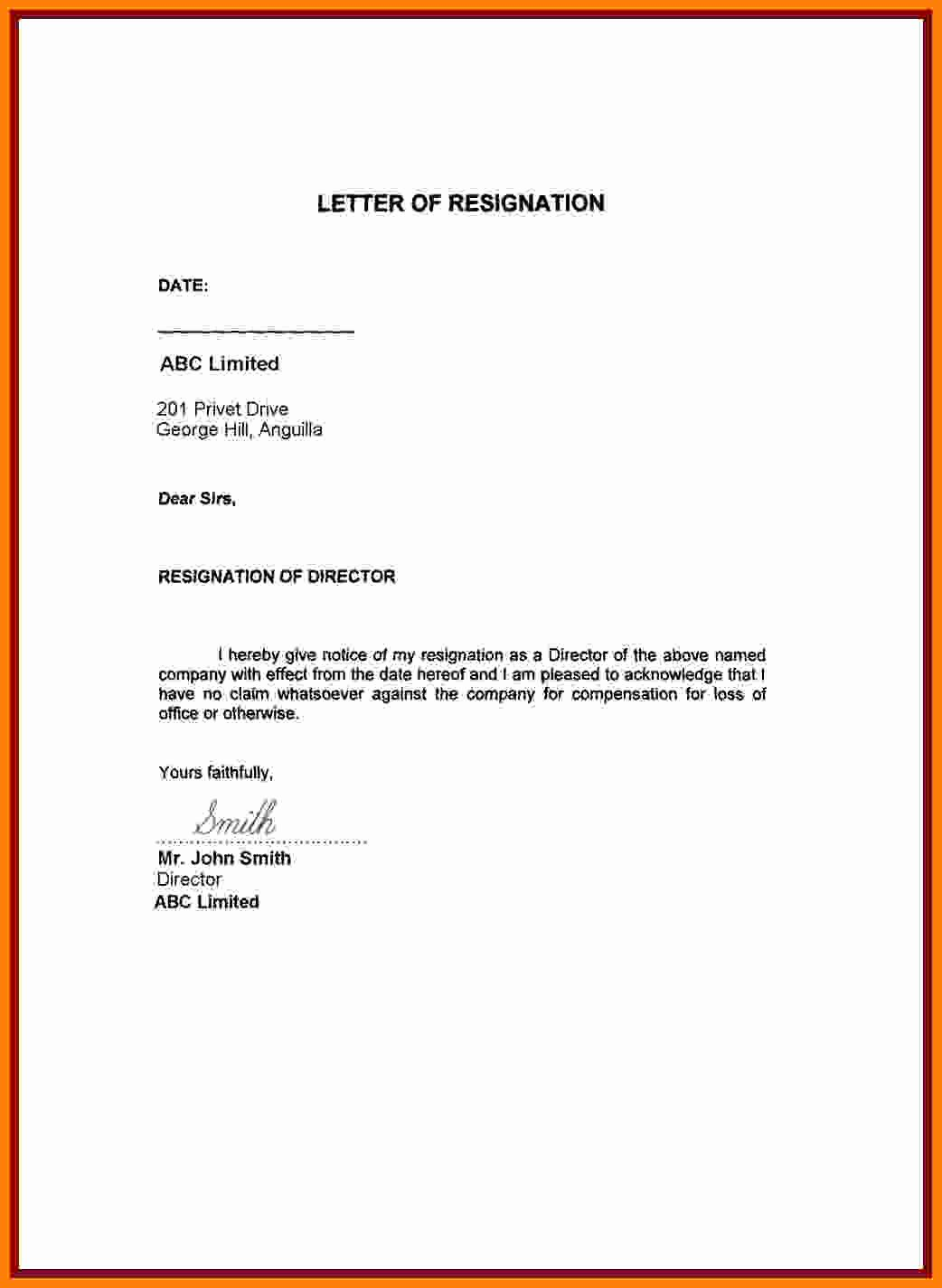 Resignation Letter for Personal Reasons Fresh 6 Simple Resignation Letter Sample for Personal Reasons