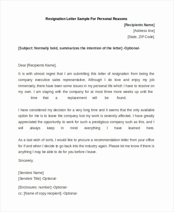 Resignation Letter for Personal Reasons Luxury Free 9 Letter Of Resignation Sample