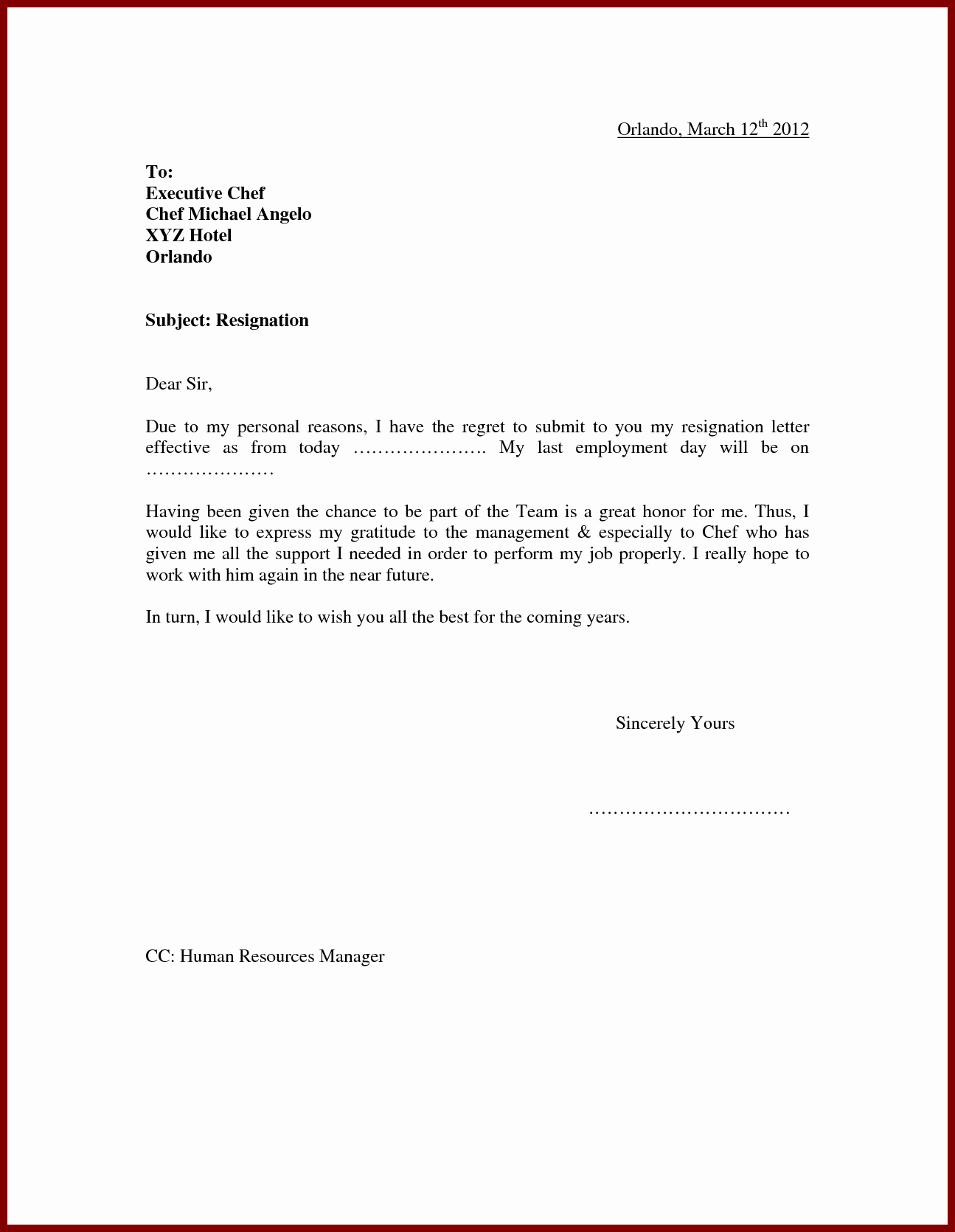 Resignation Letter for Personal Reasons Luxury Pin by Raja1769 On Mknk