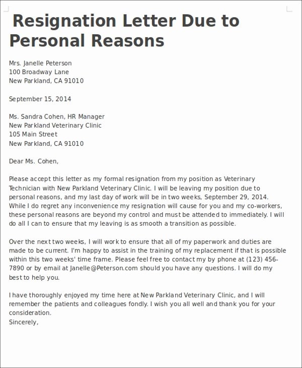 Resignation Letter for Personal Reasons New 7 Personal Reasons Resignation Letters Free Sample