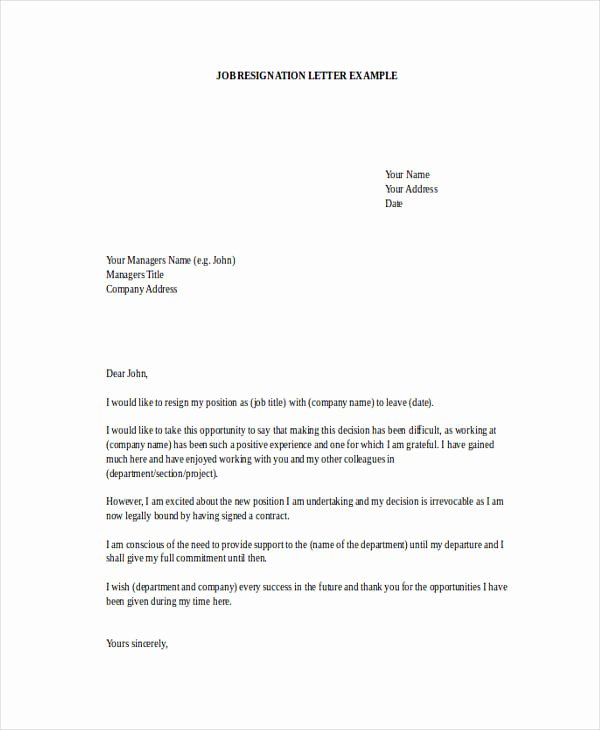 Resignation Letter for Work Inspirational Free 49 Resignation Letter Examples In Pdf Doc