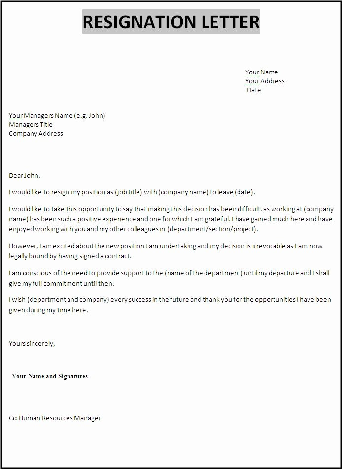 Resignation Letter format In Word Awesome 10 Resignation Letter Samples