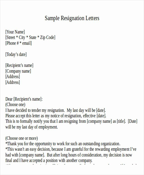 Resignation Letter format In Word New 30 Resignation Letter formats & Templates Pdf Doc