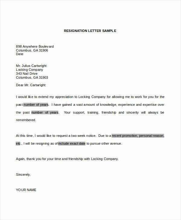 Resignation Letter format In Word New 34 Resignation Letter Word Templates