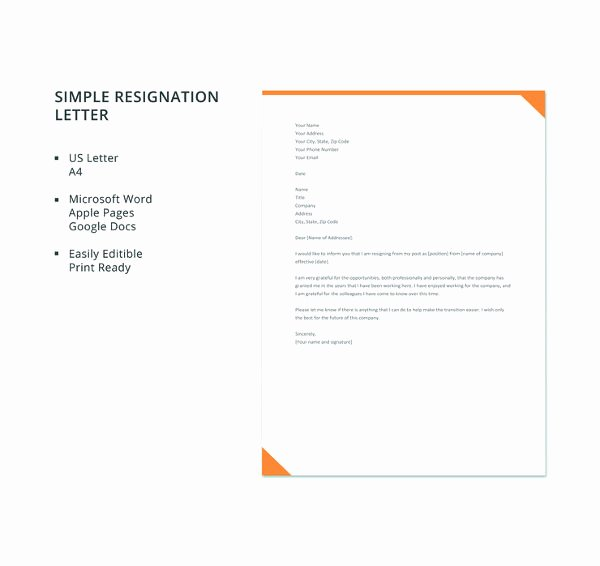 Resignation Letter format In Word Unique 69 Resignation Letter Template Word Pdf Ipages