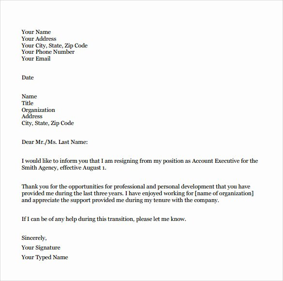 Resignation Letter format In Word Unique Sample Resignation Letter format 9 Download Free