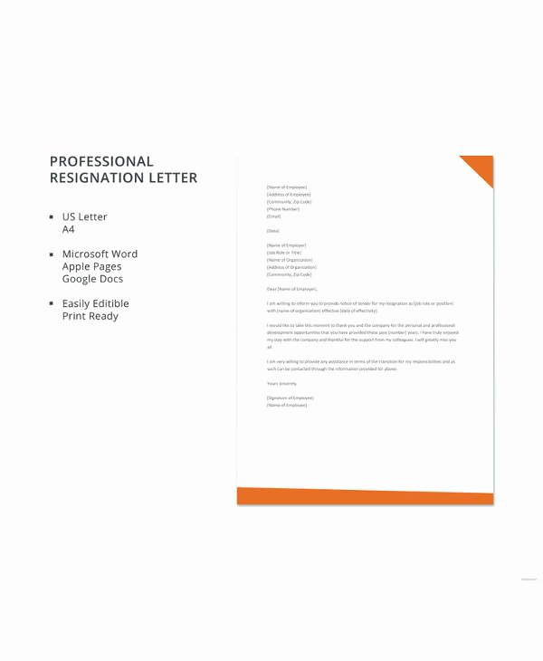 Resignation Letter In Word Best Of 17 Letter Of Resignation Samples Pdf Word Apple Pages