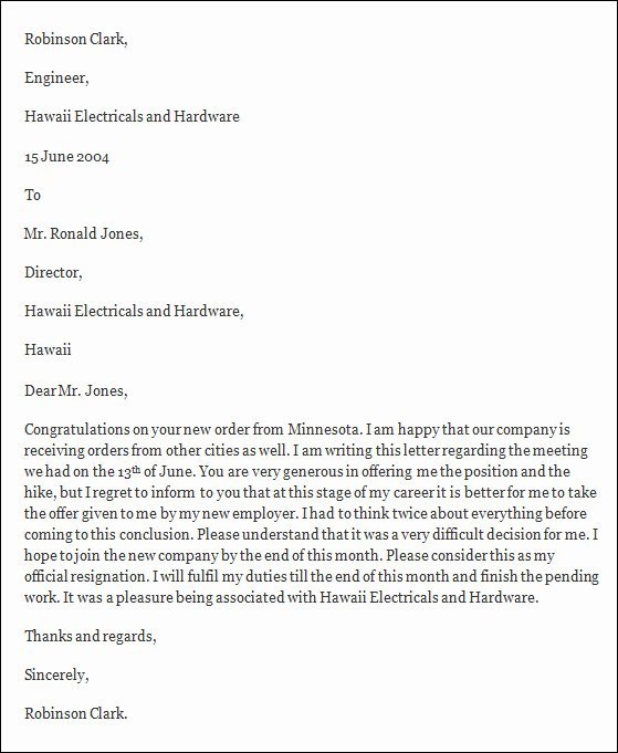 Resignation Letter In Word Fresh Free 40 formal Resignation Letters Templates In Pdf