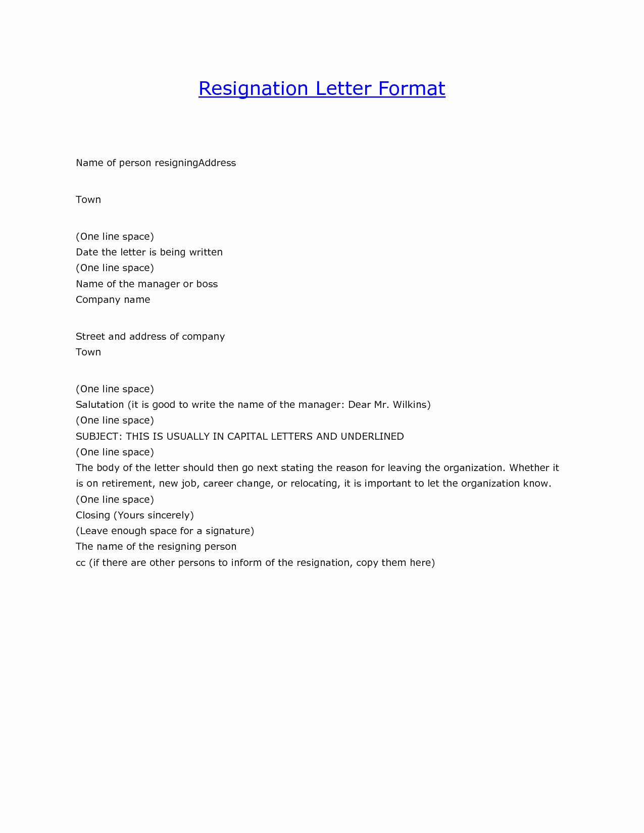 Resignation Letter In Word Fresh Letter Resignation format