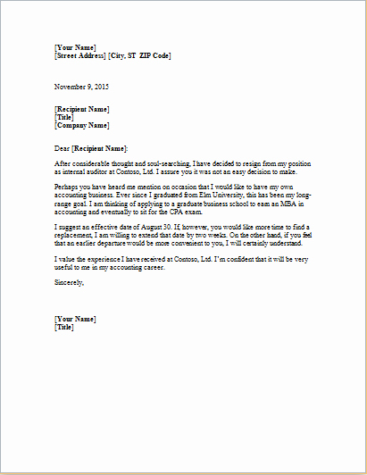 Resignation Letter In Word Inspirational Ms Word formal Resignation Letter Template