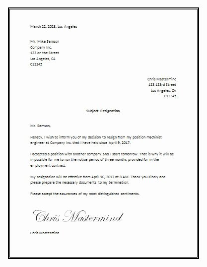 Resignation Letter In Word Inspirational Sample Resignation Letter Template Word
