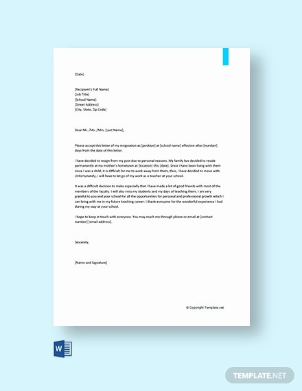 Resignation Letter Personal Reasons Awesome 159 Free Resignation Letter Templates Pdf
