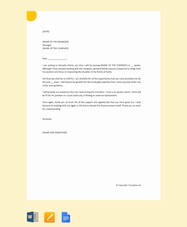 Resignation Letter Personal Reasons Beautiful 10 Sample Resignation Letter for Family Reasons Doc