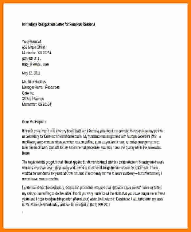 Resignation Letter Personal Reasons Inspirational 5 Resignation Letter Due to Personal Reasons with Notice
