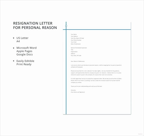 Resignation Letter Personal Reasons Inspirational Resignation Letter with Reason Template 10 Free Word