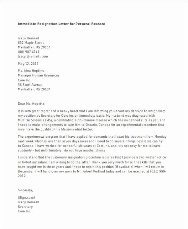 Resignation Letter Personal Reasons Luxury Free 49 Resignation Letter Examples In Pdf Doc
