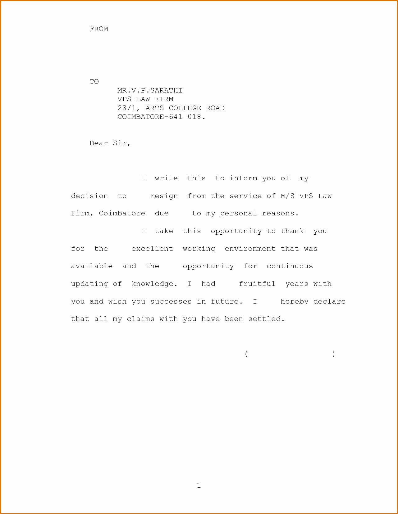Resignation Letter Personal Reasons New 10 Family Reason Resignation Letter for Personal Problem