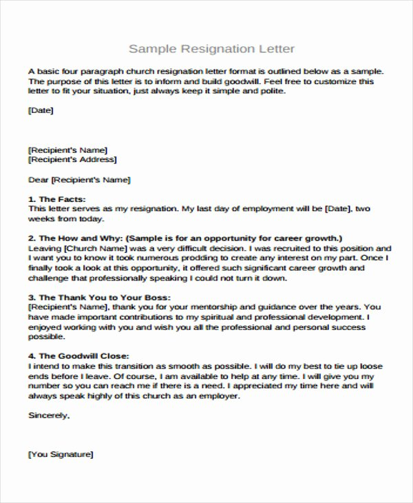 Resignation Letter Sample Free Beautiful 8 Basic Resignation Letters Free Sample Example format