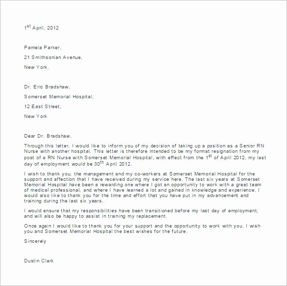 Resignation Letter Sample Free Beautiful 8 Nursing Resignation Letter Templates Free Sample