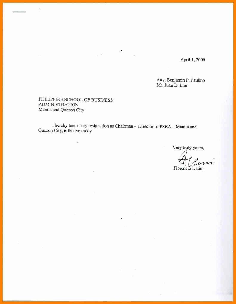 Resignation Letter Sample Free Inspirational Sample Simple Resignation Letter