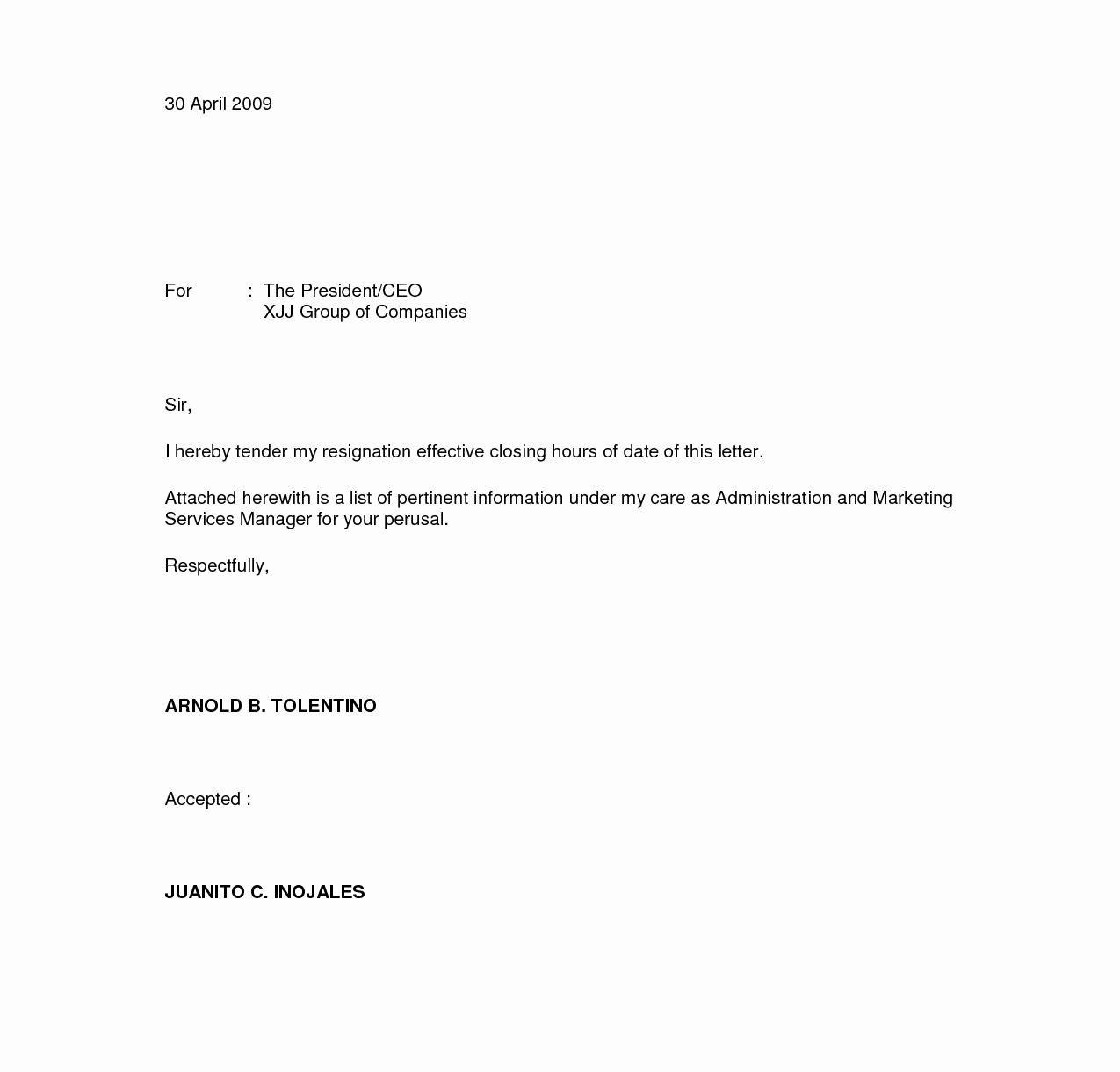 Resignation Letter Sample Unique Resignation Letters Download Pdf Doc format