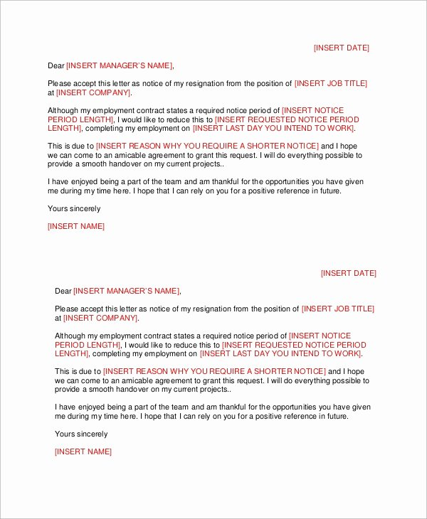 Resignation Letter Short Notice Awesome Letter Of Resignation 51 Examples In Word Pdf