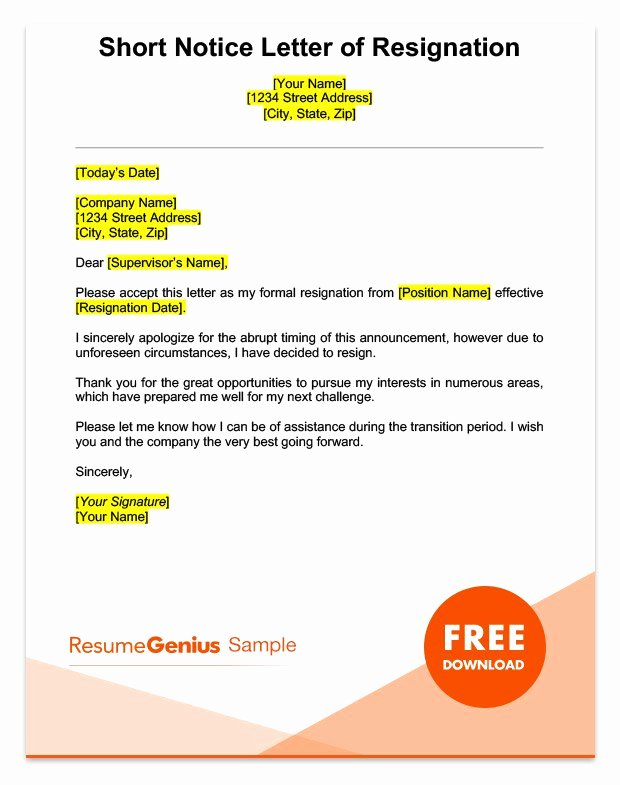 Resignation Letter Short Notice Awesome Life Specific Resignation Letters Samples