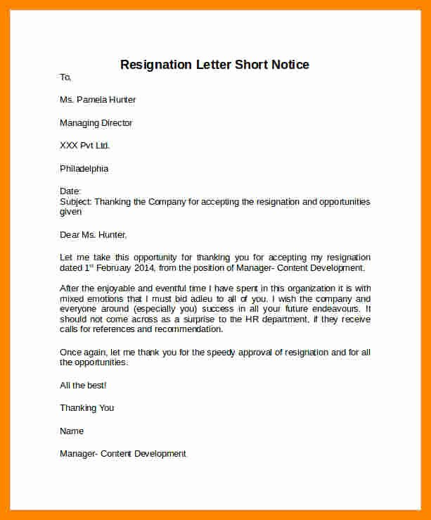 Resignation Letter Short Notice Fresh 10 Resignation Letter Sample with Notice Period